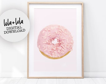 Pink Donut Print, Girl Room Wall Art Decor - Printable Wall Art - Pastel Pink Poster for Nursery, Baby Girls Bedroom Decor, Candy, Sweets