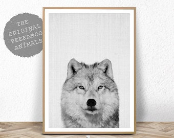 Wolf Print, Woodlands Nursery Wall Art, Black White Grey Decor, Kids Room Poster, Forest Animal, Printable Instant Digital Download