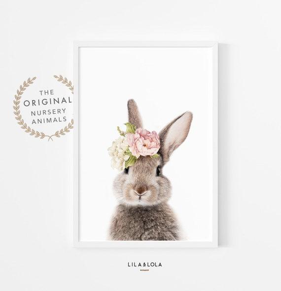 Nursery Wall Art ~ Bunny Print ~ Girls Bedroom Decor ~ Rabbit with Floral Crown ~ Printable Digital Download
