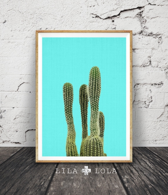 Turquoise Cactus Print, Mexican Wall Art, Arizona, South Western Decor, Printable Poster, Digital Download, Aztec, Botanical, Mexico