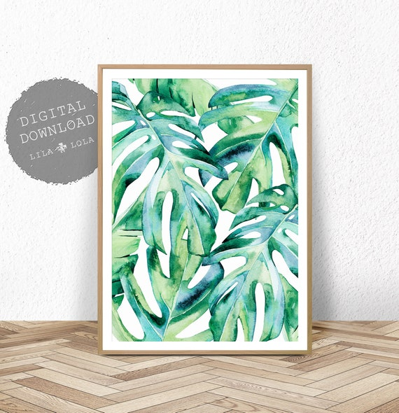 Leaf Print, Digital Wall Art Download, Printable Palm Leaves, Monstera, Teal Green Art Decor, Large Living Room Watercolour Poster Painting