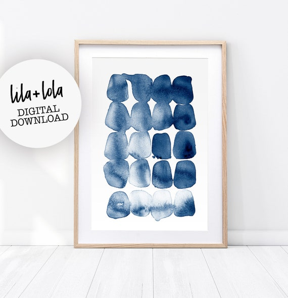 Abstract Print, Watercolour Wall Art, Modern Minimalist Painting, Navy Blue, Brush Stroke, Printable Digital Download, Large Poster, Ink