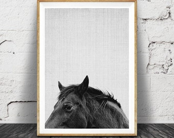 Horse Print, Horse Art, Horse Photo, Black and White Horse Photography Print, Modern Minimal Horse, Printable Horse Art, Instant Download