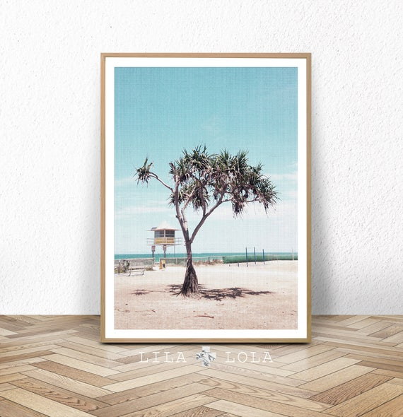 Beach Art Print, Coastal Photography, Large Printable Wall Decor, Palm Tree Photo, Beach Hut Artwork, Digital Download