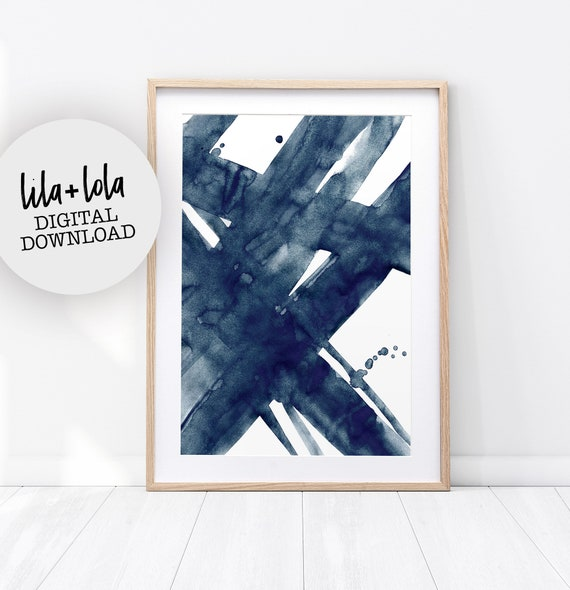 Abstract Painting, Navy Blue, Watercolour Wall Art Print, Brush Stroke, Printable Digital Download, Large Poster, Ink, Modern Minimalist
