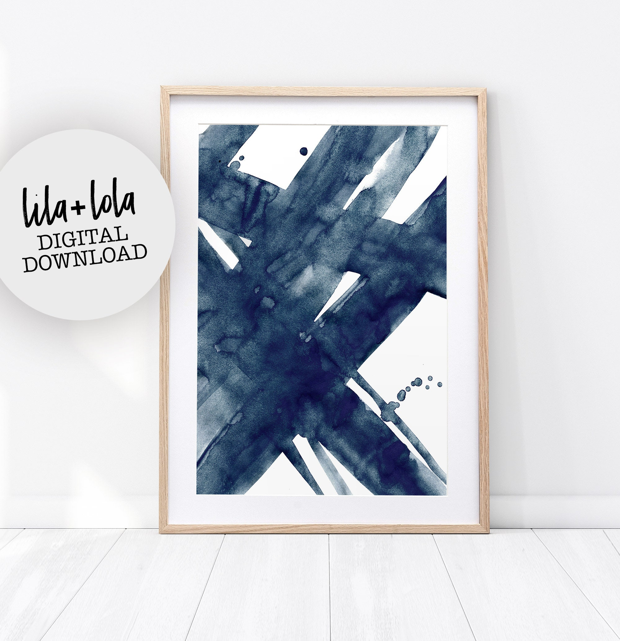 Modern Blue Tones Abstract Canvas Wall Art Picture Print A4 A1 A2 A3