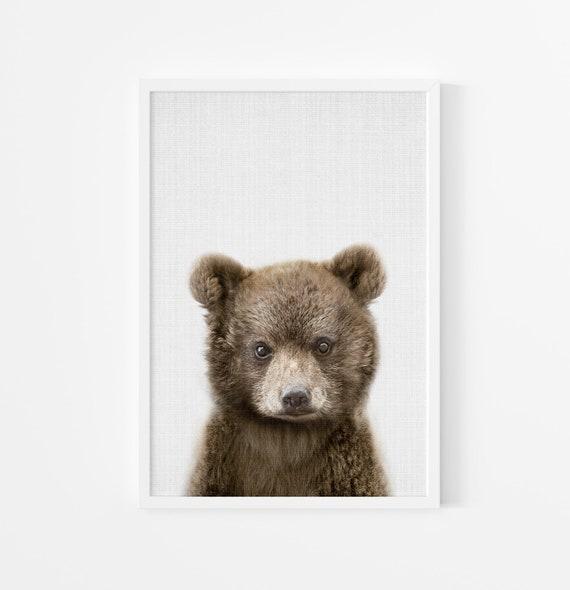 Baby Bear Nursery Print - Printable Wall Art - Woodland Animal Decor, Babies Boys Room Poster, Kids Wall Art