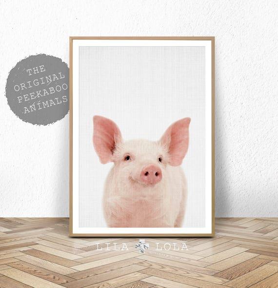 Farm Animal Print, Pig Print, Nursery Decor, Minimalist Pig Wall Art, Modern Farmhouse, Printable Digital Download