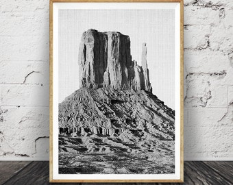 Black and White Desert Mountains Print, South Western Wall Art Decor, Printable Poster, Digital Download, Arizona Landscape, Photography