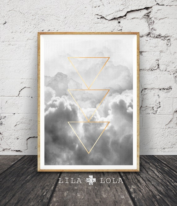 Geometric Graphic Design, Black and White Cloud Print, Minimalist Wall Art, Gold Triangles, Large Modern Printable Poster, Digital Download