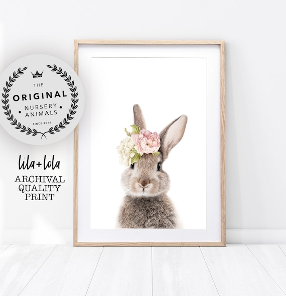 Floral Bunny Print - Printed and Shipped