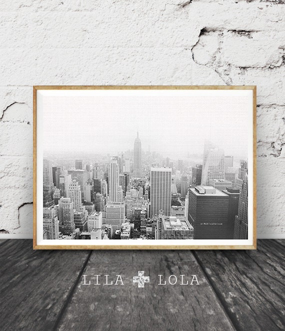 New York Print, Black and White Photography, New York City Skyline Photo, Printable Large Wall Art Poster, Empire State Building, City Scape