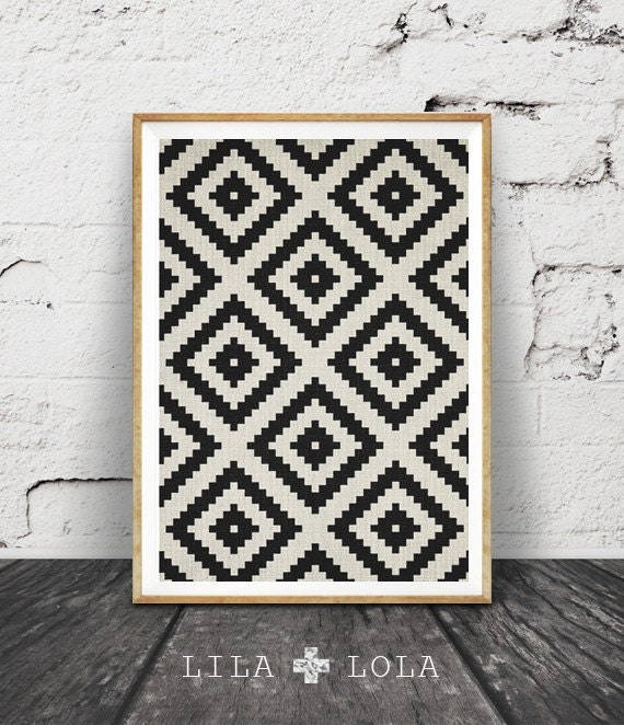 Aztec Pattern Print, Black and White Print, South Western Wall Art, Printable Art, Mexican, Tribal, Aztec Poster, Black White Geometric