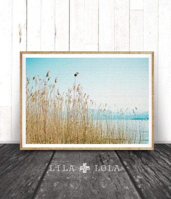 Beach Print, Water Reeds Mountains Ocean, Printable Wall Art, Landscape Nature Photography, Coastal Decor, Ocean Scene, Modern Blue Art