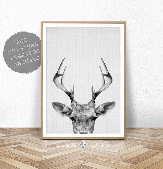 Deer Print, Deer Antlers, Woodlands Decor, Wilderness Wall Art, Nursery Black and White, Animal Print, Printable Art, Deer Head Download