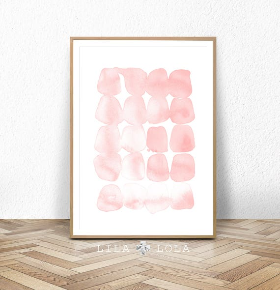 Abstract Watercolor Painting, Blush Pink Wall Art Print, Digital Download Large Printable Poster, Modern Minimalist Girls Nursery Room Decor