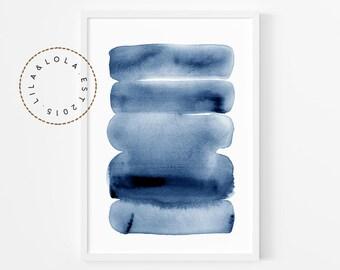 Navy Blue Abstract Print ~ Printable Wall Art ~  Watercolour Brush Stroke Painting ~ Hamptons Beach House Style Decor