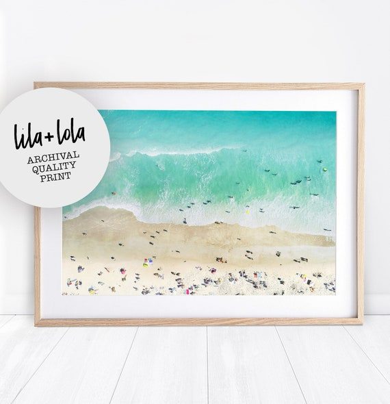 Beach Photography Wall Art Print, Ariel Photo, Large Wall Art, Ocean, Beach Wall Art, Coastal Decor, People on the Beach