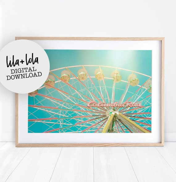Ferris Wheel Print, Girls Room Wall Art Decor, Digital Download, Printable Wall Art, Girl Baby Bedroom Poster, Vintage Pastel Kids Bedroom