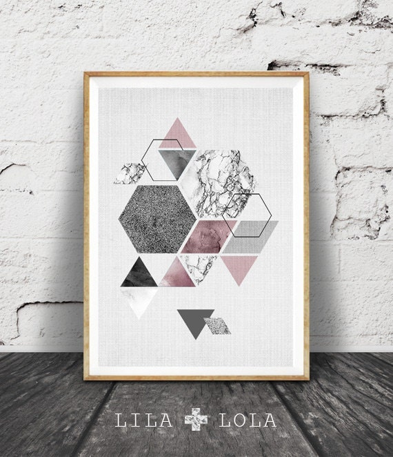Hexagon Print, Geometric Scandinavian Art, Triangles Wall Art, Pink White Black Marble, Printable, Modern Minimalist Decor, Large Poster