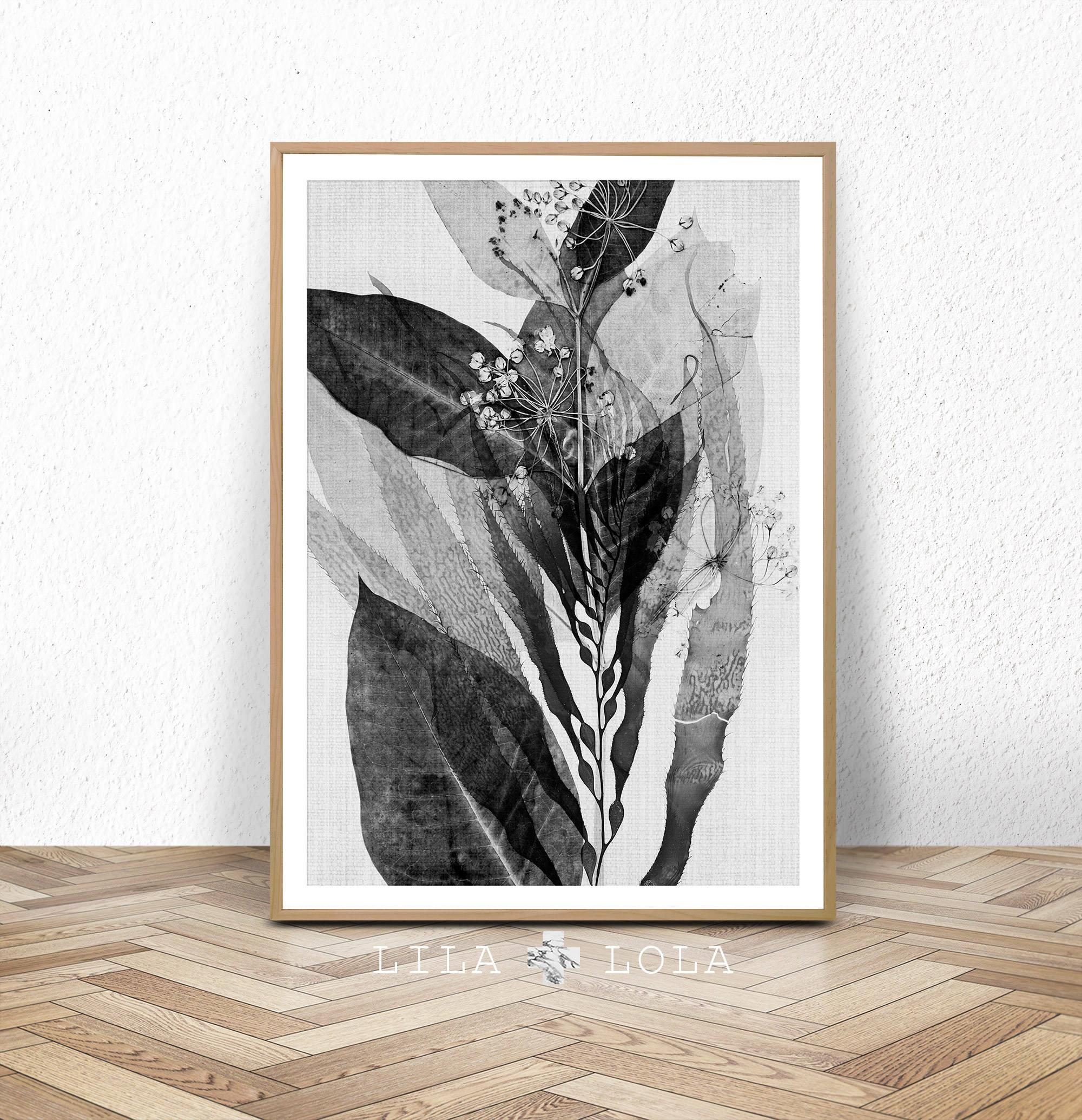 Botanische Druck schwarz und weiß-Wand-Kunst druckbare | Etsy
