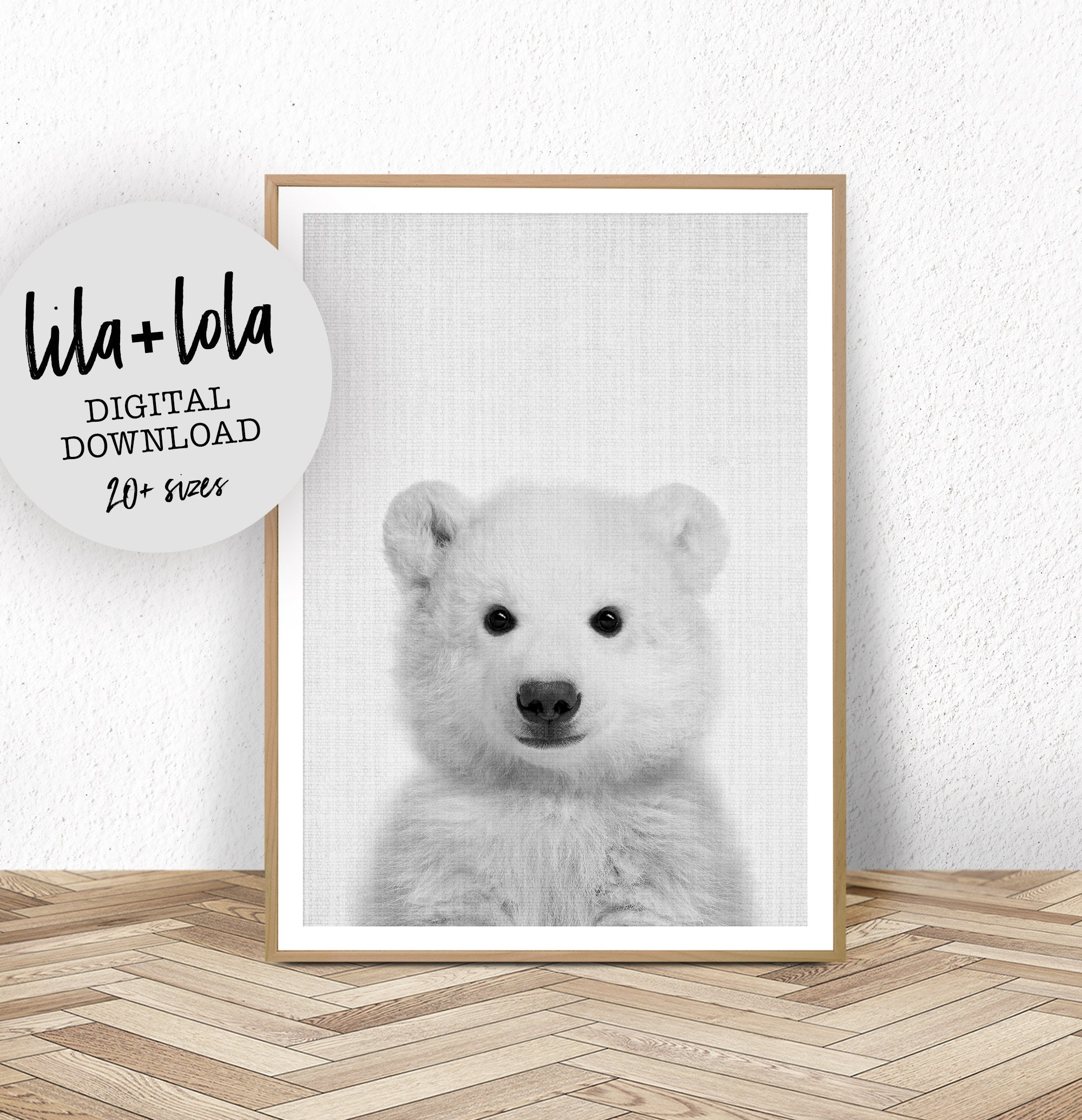 Baby Polar Bear Print Digital Download