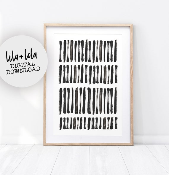 Black and White Abstract Wall Art, Brush Stroke Print, Modern Minimal Ink Painting, Home Decor, Printable Instant Download, Large Poster