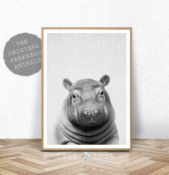 Peekaboo Hippo Print - Digital Download