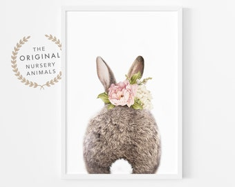 Bunny Rabbit Tail Print, Watercolour Flower, Girls Bedroom Decor, Nursery Animal Wall Art, Printable Art, Digital Download, Pink Roses, Butt