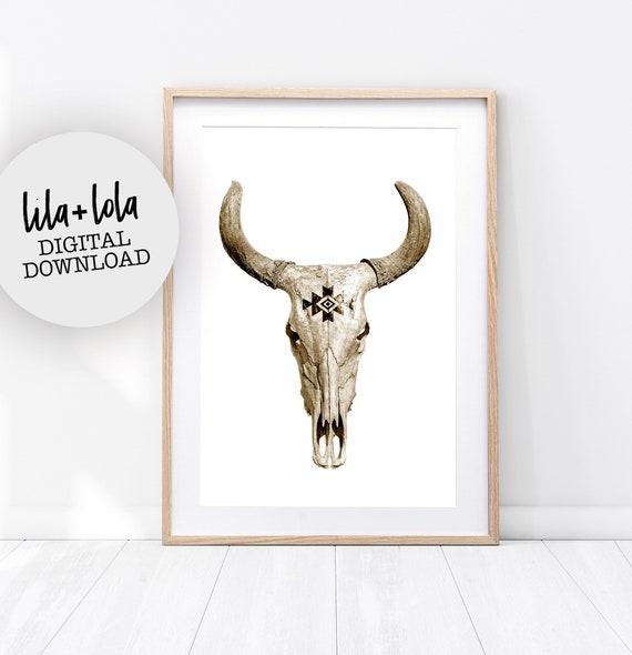 Tribal Bull Skull Print - Digital Download