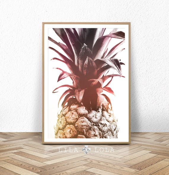 Pineapple Print, Tropical Decor, Wall Art Poster, Printable Digital Download, Pink and Yellow, Large Printable Fruit, Modern Minimalist