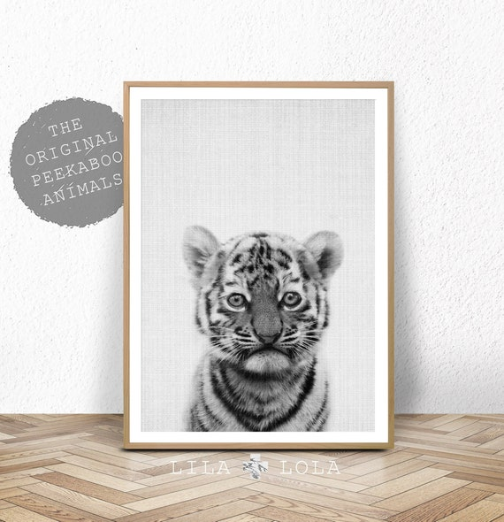 Tiger Wall Art Print, Safari Nursery, Printable Digital Download, Baby Animal, Black and White Tiger Poster, Nursery Tiger Cub Safari Animal
