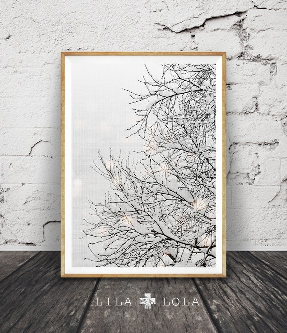 Winter Wonderland Decor, Tree Branches Print, Snow Nursery Print, Wall Art Decor, Modern Photography, Tree, Grey White, Woodlands