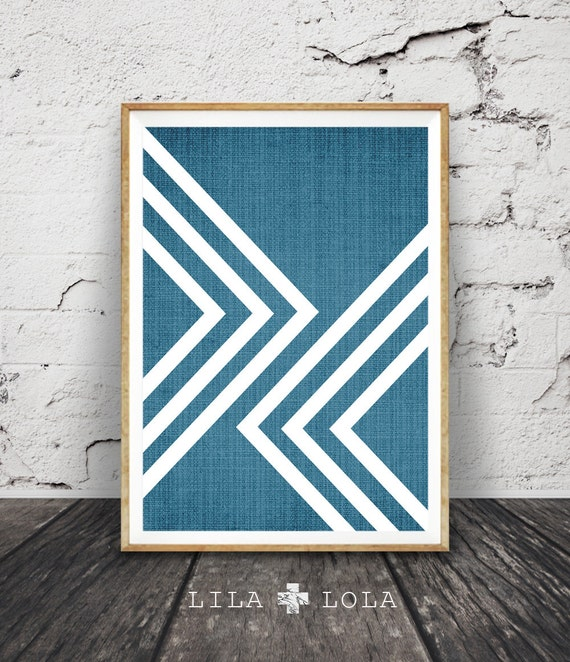 Modern Minimalist Print, Geometric Wall Art, Abstract Large Art Poster, Scandinavian, Mid Century, Printable Instant Download, Blue Decor