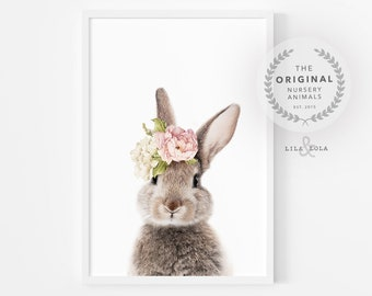 Nursery Wall Art, Girls Bedroom Decor, Bunny Rabbit Print, Animal Prints, Printable Art, Digital Download, Watercolour Flowers, Pink Roses