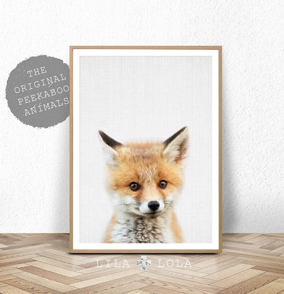 Fox Wall Art Print, Woodland Nursery, Printable Digital Download, Baby Animal, Babies Room Poster, Printable Nursery Fox, Woodland Animal