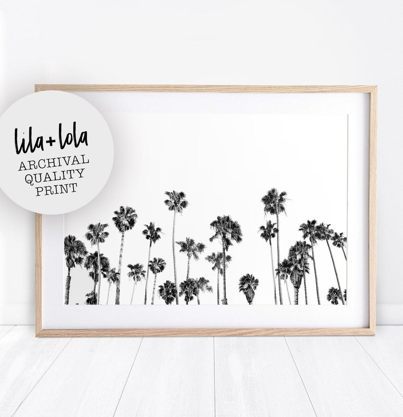 Palm Tree Print Tropical Wall Art Decor Black and White Palm image 0
