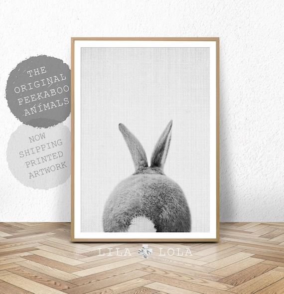 Rabbit Tail Print, Nursery Baby Animal Wall Art Prints, Woodland Baby Shower Decor, Bunny Butt, Large Poster, Printed Art, Nursery Prints