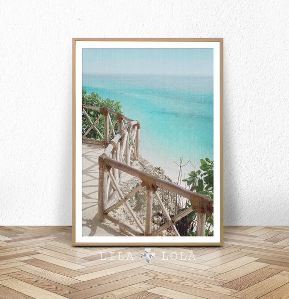 Beach Coastal Wall Art Decor, Beach Photography Print, Large Printable Digital Download, Ocean Water, Blue Turquoise, Beach Coastal Decor