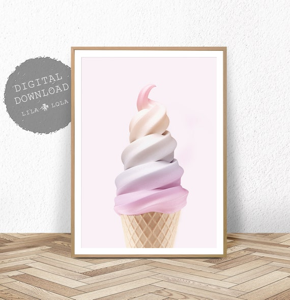 Girls Print, Nursery Bedroom Decor, Pink Printable Digital Download, Rainbow Wall Art, Ice Cream, Pink Printable Poster, Girls Room Decor