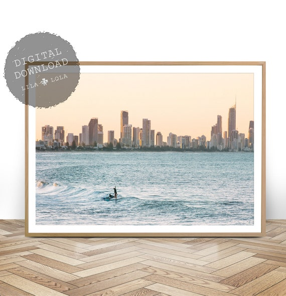 Surf Print, Digital Download, Ocean Photography, Beach Coastal Wall Art, Printable Large Surfing Poster, Australian Decor, Surfers Paradise