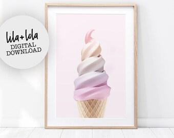 Girls Print, Nursery Bedroom Decor, Pink Printable Digital Download, Rainbow Wall Art, Ice Cream, Pink Printable Poster, Girls Room Decor