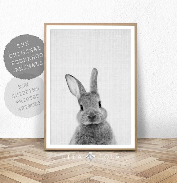 Rabbit print baby animal prints woodland nursery decor bunny wall art print