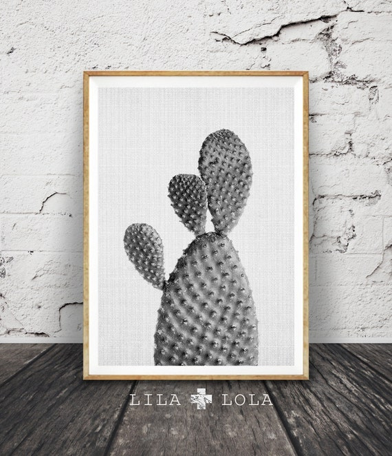 Cactus Print, Black and White Wall Art, South Western Decor, Modern Minimalist Contemporary, Large Printable Poster, Digital Download