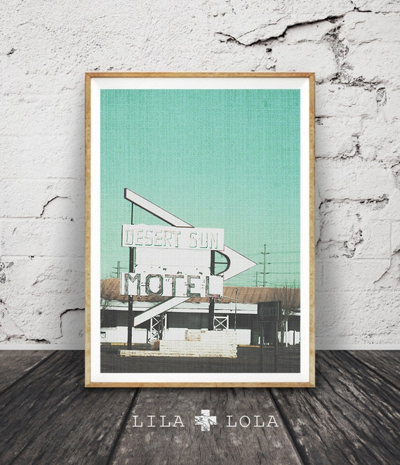 Desert Print, Retro Hotel Motel Sign, Printable South Western Decor, Arizona, Modern, Large Poster, Digital Download, Brown Green Aqua
