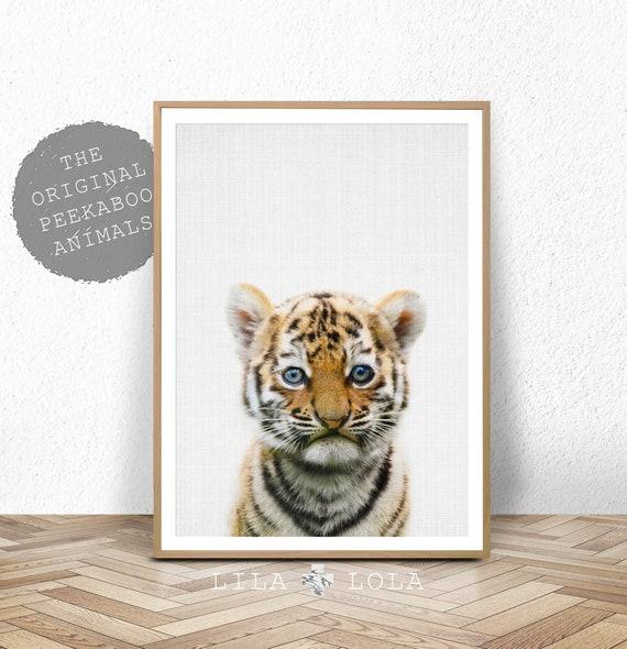 Tiger Wall Art Print, Safari Nursery, Printable Digital Download, Baby Animal, Babies Room Poster, Printable Nursery Tiger Cub Safari Animal