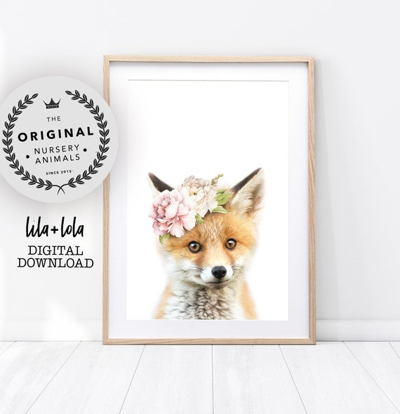 Floral Fox Print - Digital Download