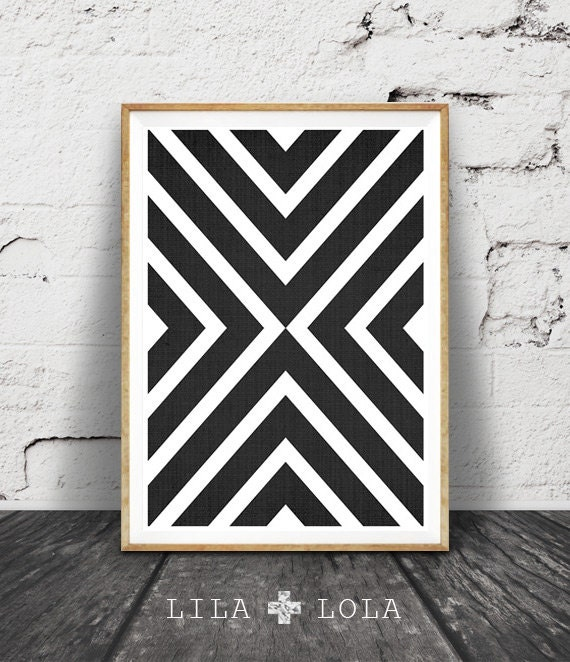 Black and White Print, Modern Scandinavian Wall Art, Black and White Geometric, Printable Scandinavian Poster, Black White Wall Art Decor