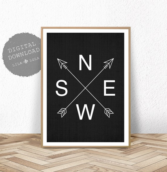 Boys Room Wall Art Black and White Decor, Poster Prints for Toddler Kids, Printable Digital Download, NESW Nautical Compass Arrow, Modern
