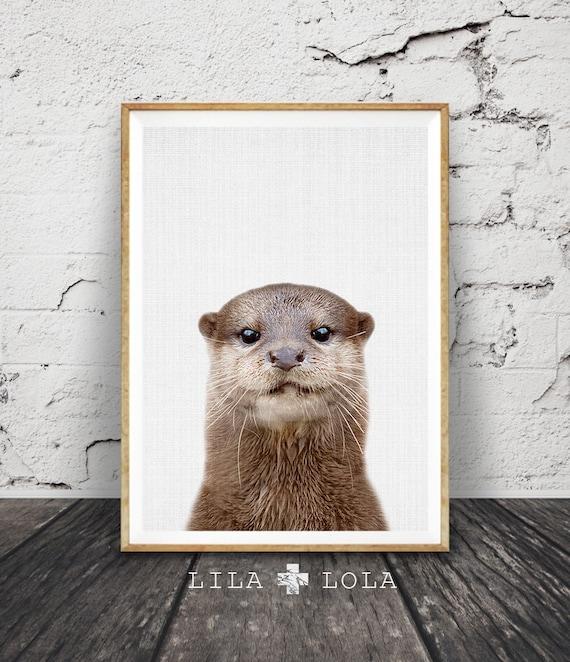 Otter Print, Minimalist Colour Photo, Printable Poster, Digital Download, Sea Animal